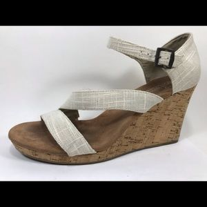 Toms Canvas Ankle Strap Wedge Sandals 10